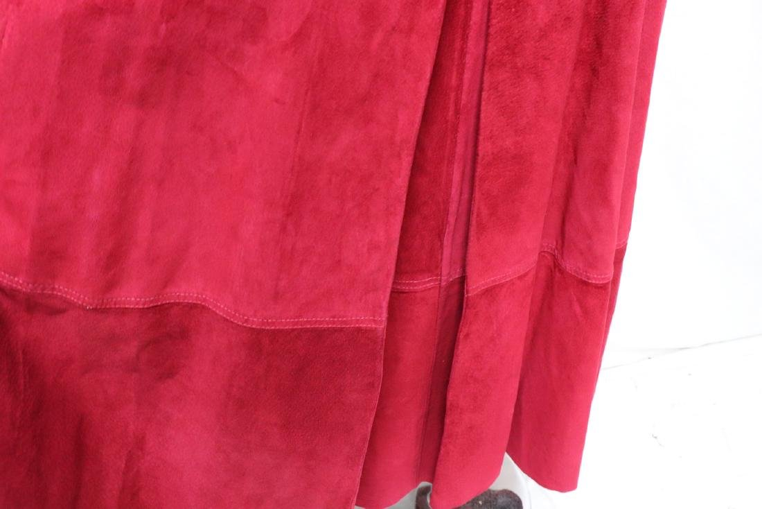 Vintage Cherry Red Suede Skirt - 3
