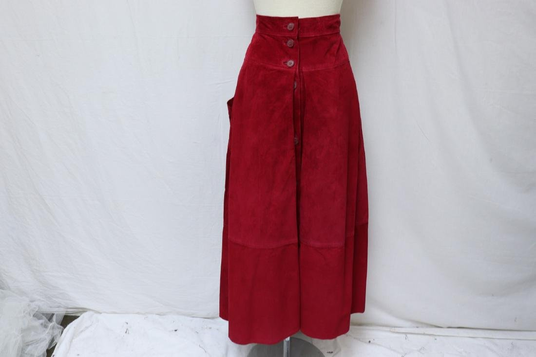 Vintage Cherry Red Suede Skirt - 6