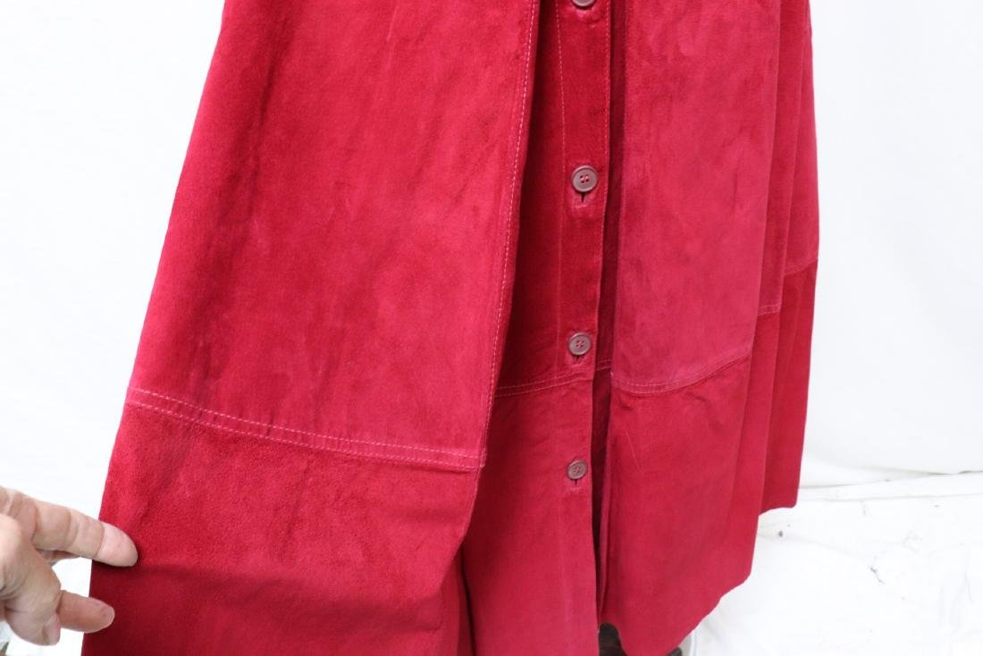 Vintage Cherry Red Suede Skirt - 7