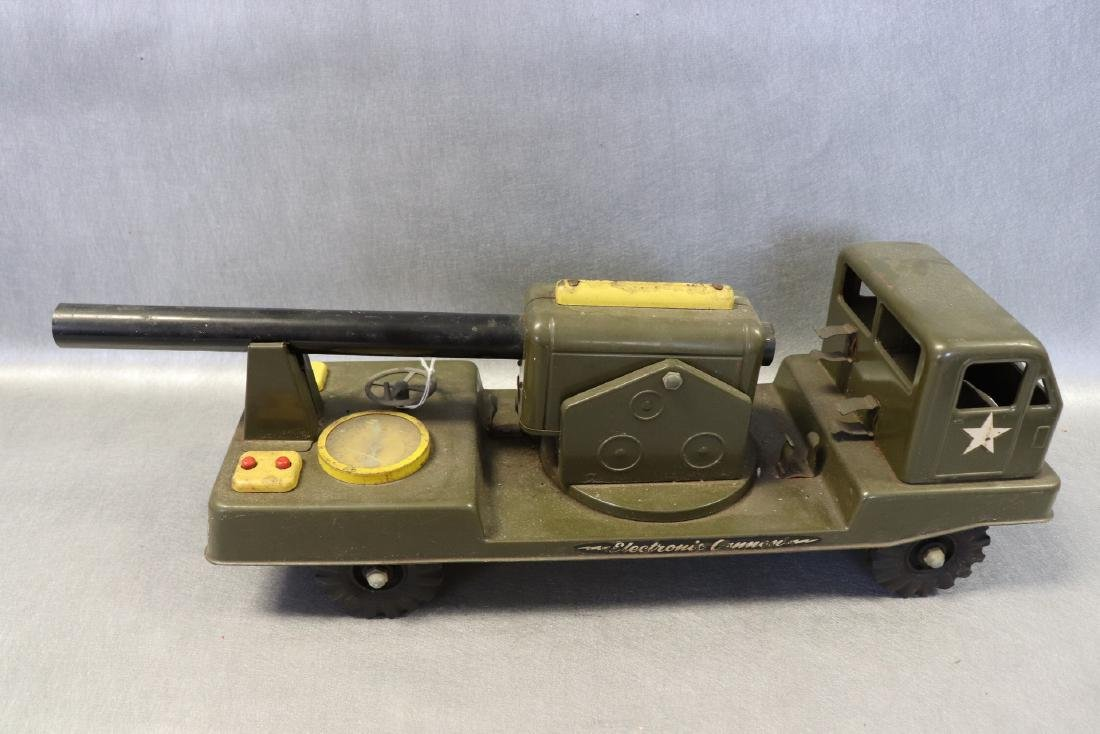 Vintage NY Lint Toys Military Green Electronic Cannon - 3