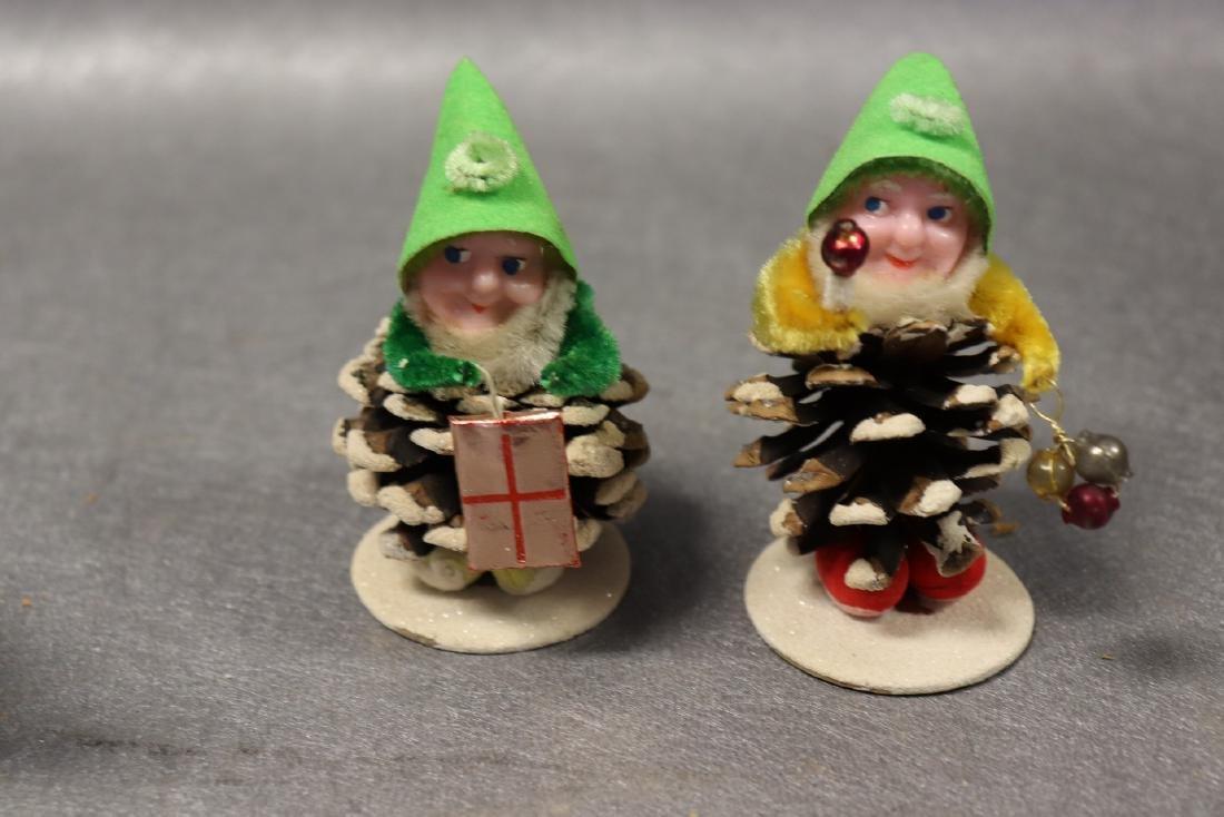 Lot of 6 Vintage Christmas Pine Cone Elves, Japan - 2