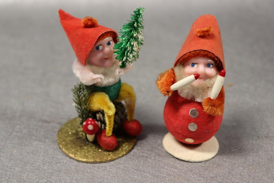 Lot of 6 Vintage Christmas Pine Cone Elves, Japan - 4