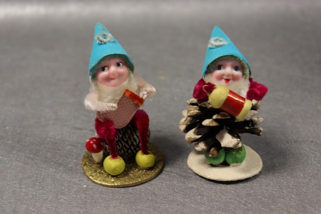 Lot of 6 Vintage Christmas Pine Cone Elves, Japan - 5
