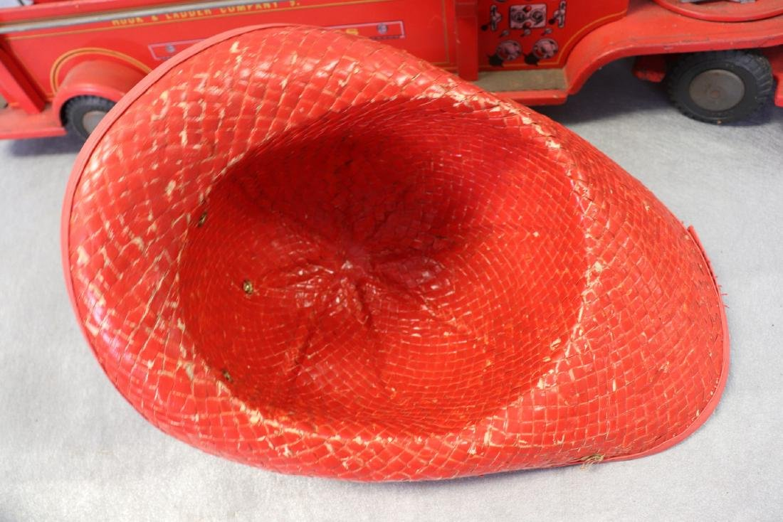 Lot of Vintage Red Fire Trucks Plus Woven Fire Chief - 9