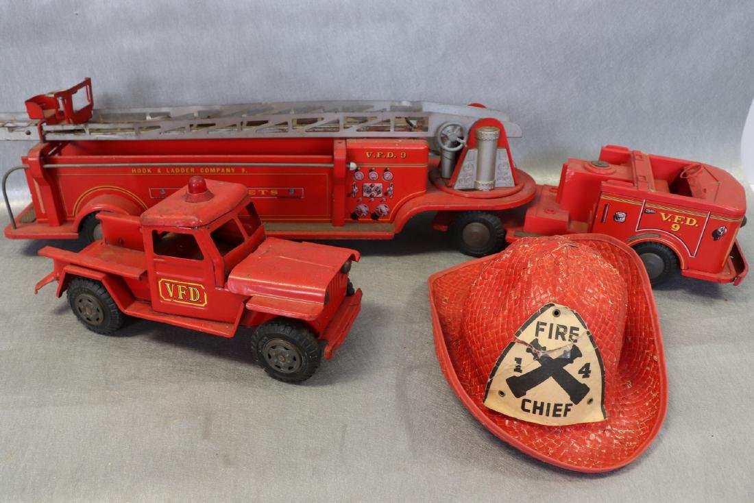Lot of Vintage Red Fire Trucks Plus Woven Fire Chief