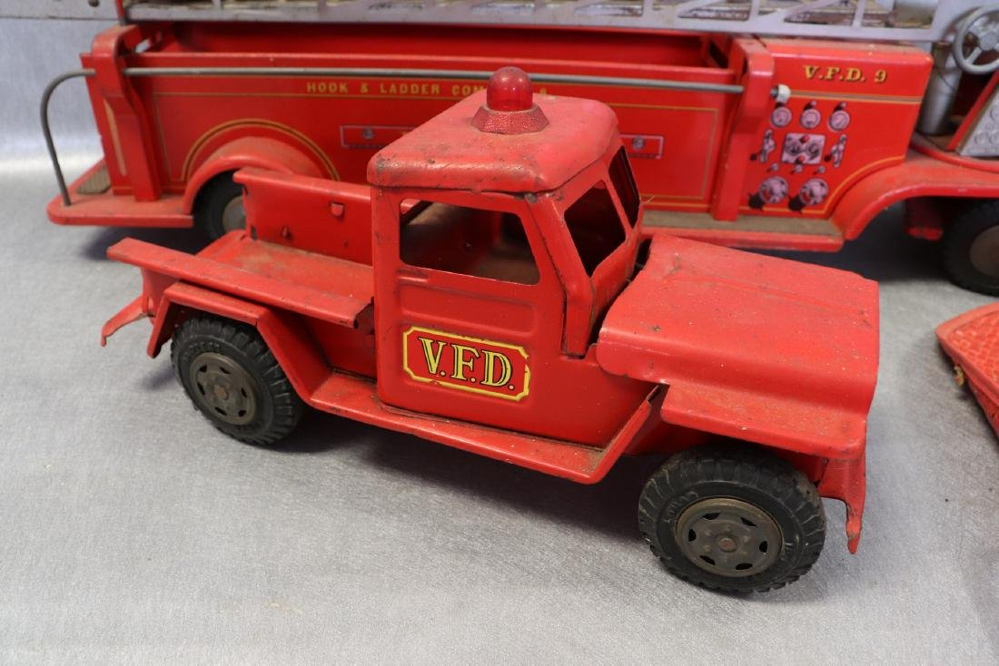 Lot of Vintage Red Fire Trucks Plus Woven Fire Chief - 2