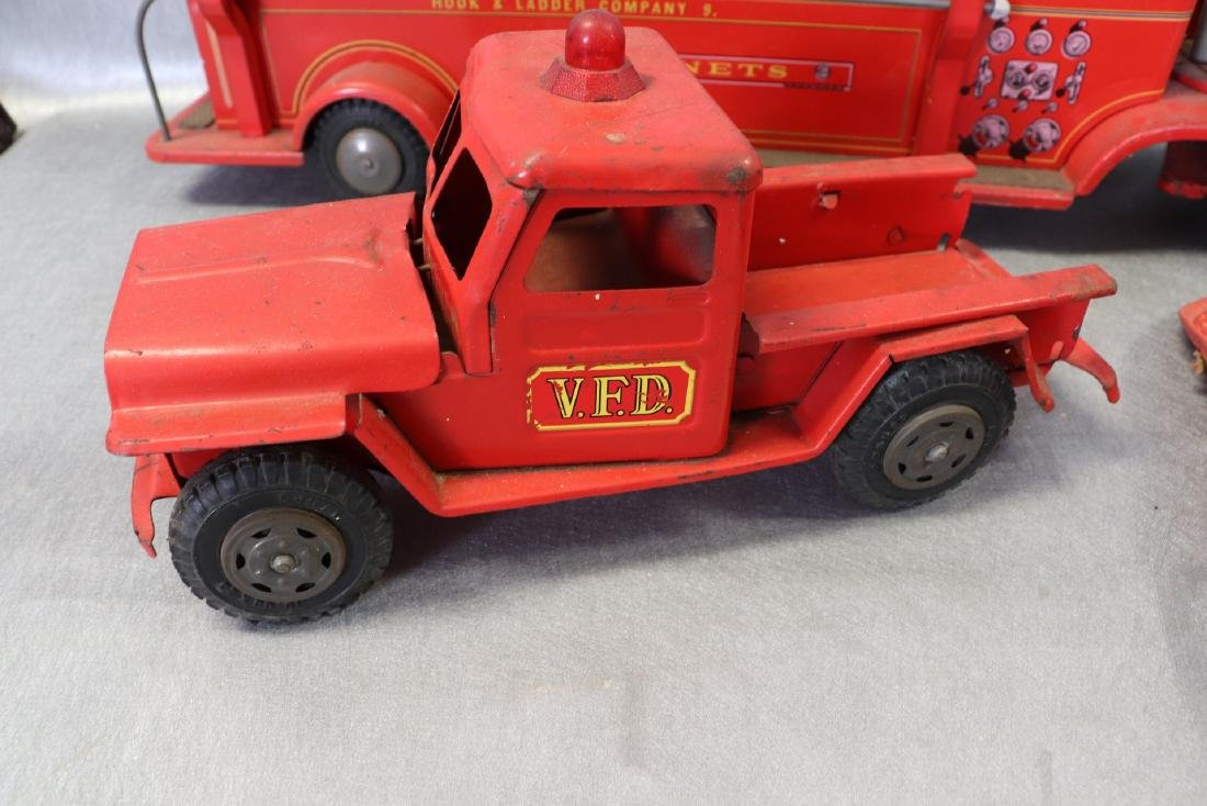 Lot of Vintage Red Fire Trucks Plus Woven Fire Chief - 3