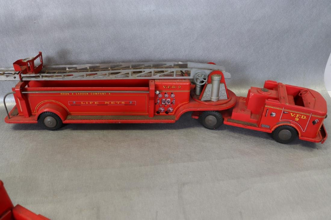 Lot of Vintage Red Fire Trucks Plus Woven Fire Chief - 5