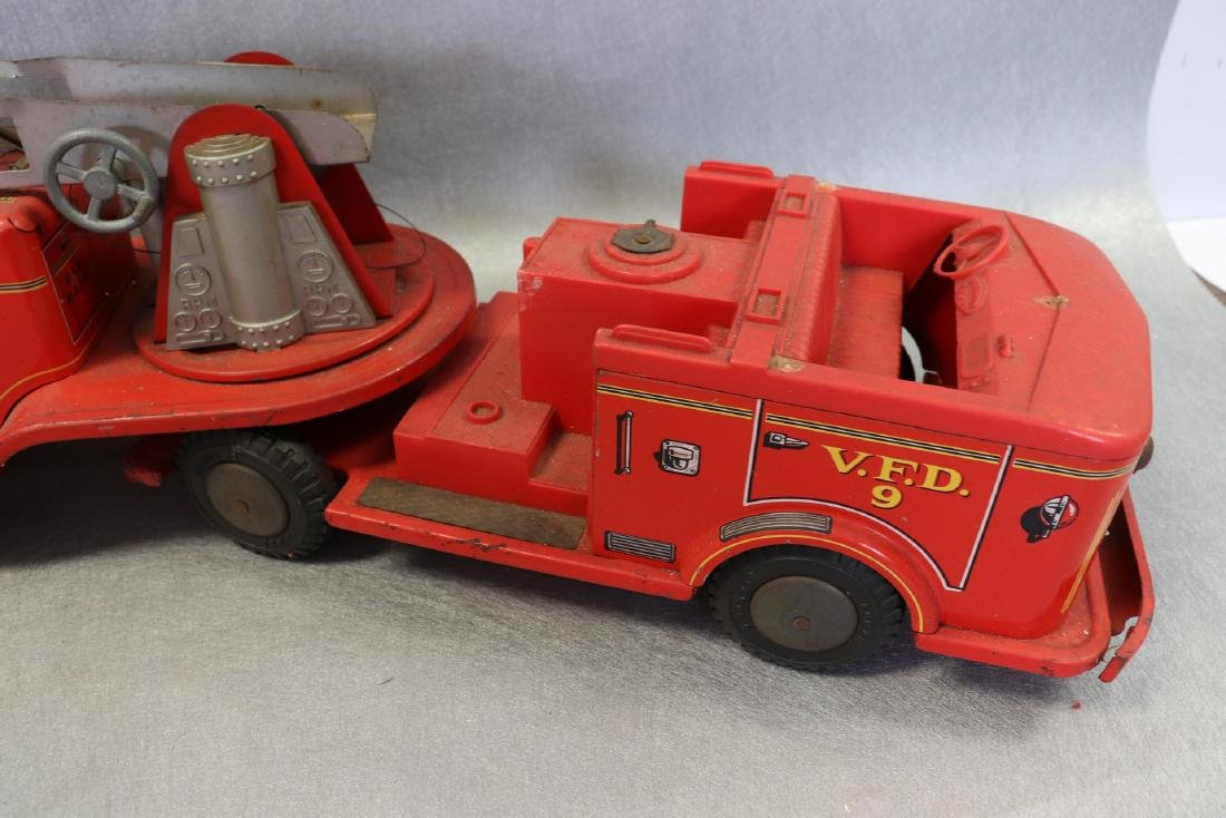 Lot of Vintage Red Fire Trucks Plus Woven Fire Chief - 6