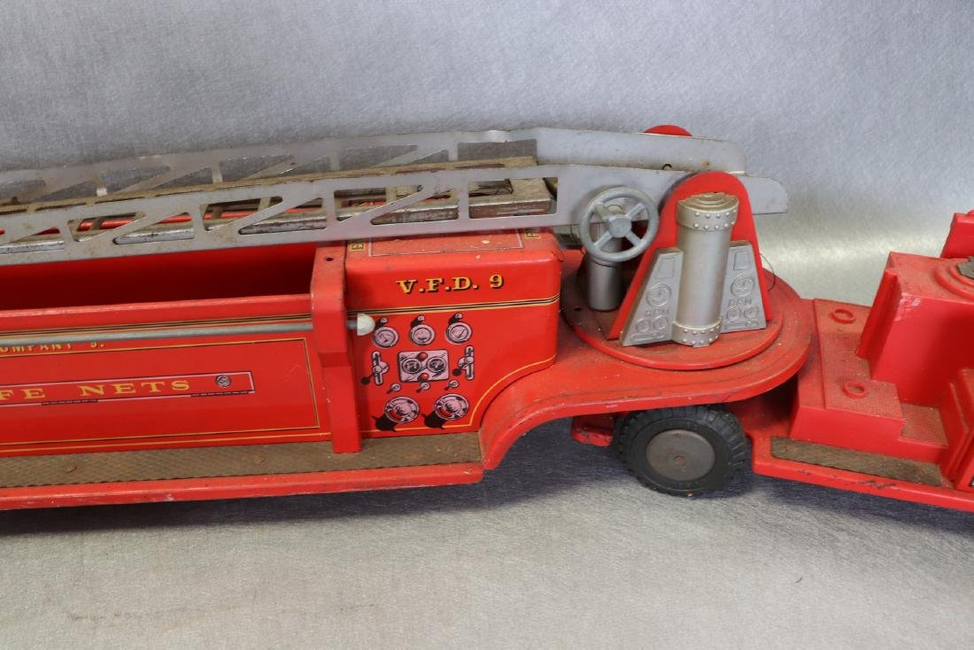 Lot of Vintage Red Fire Trucks Plus Woven Fire Chief - 7