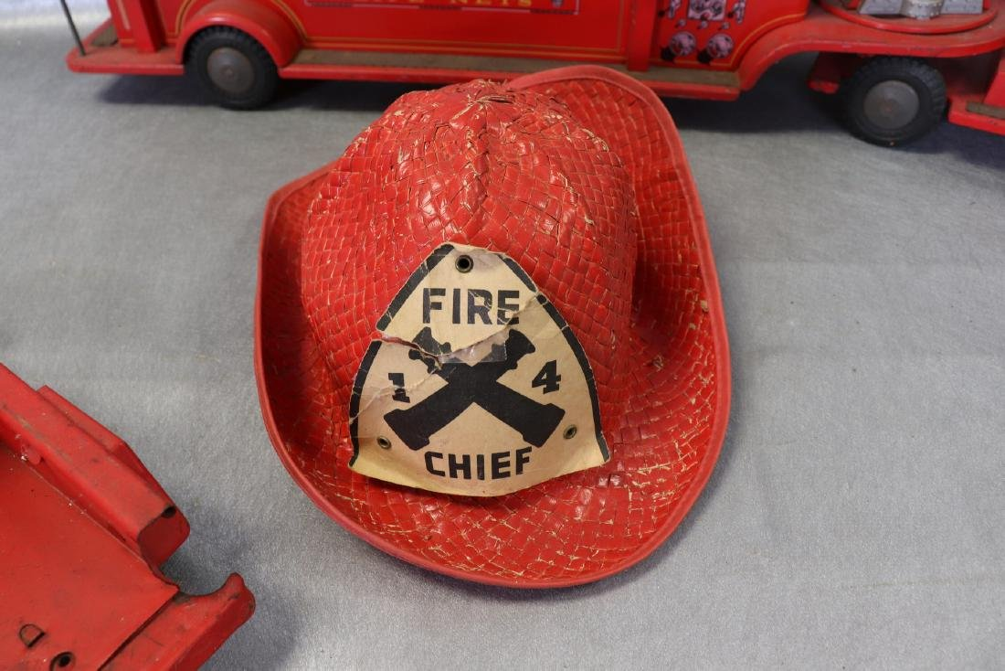 Lot of Vintage Red Fire Trucks Plus Woven Fire Chief - 8