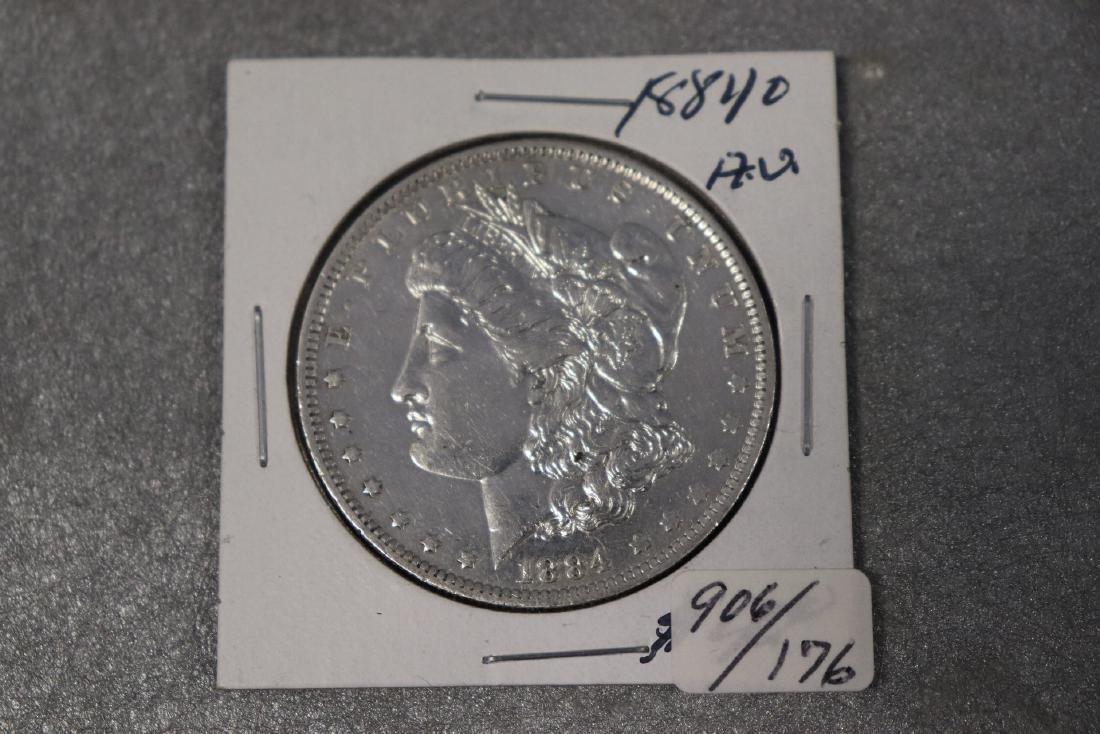1884 O, Morgan Silver Dollar AU