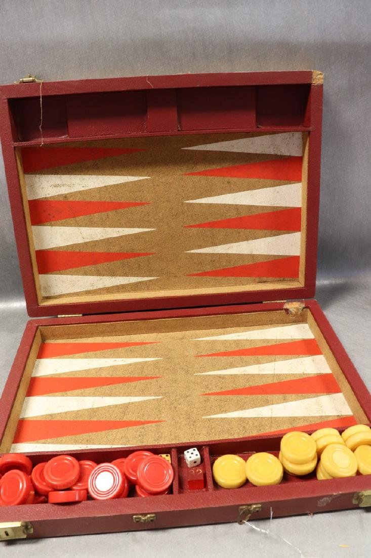 Vintage Backgammon Game With Bakelit Chips