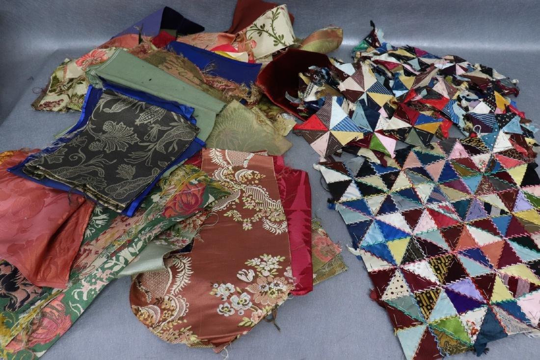 Victorian Crazy Quilt Fabrics And Quilt Top Piece