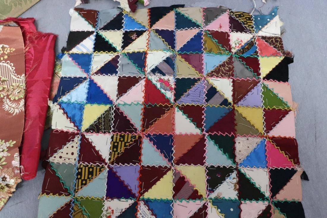 Victorian Crazy Quilt Fabrics And Quilt Top Piece - 2
