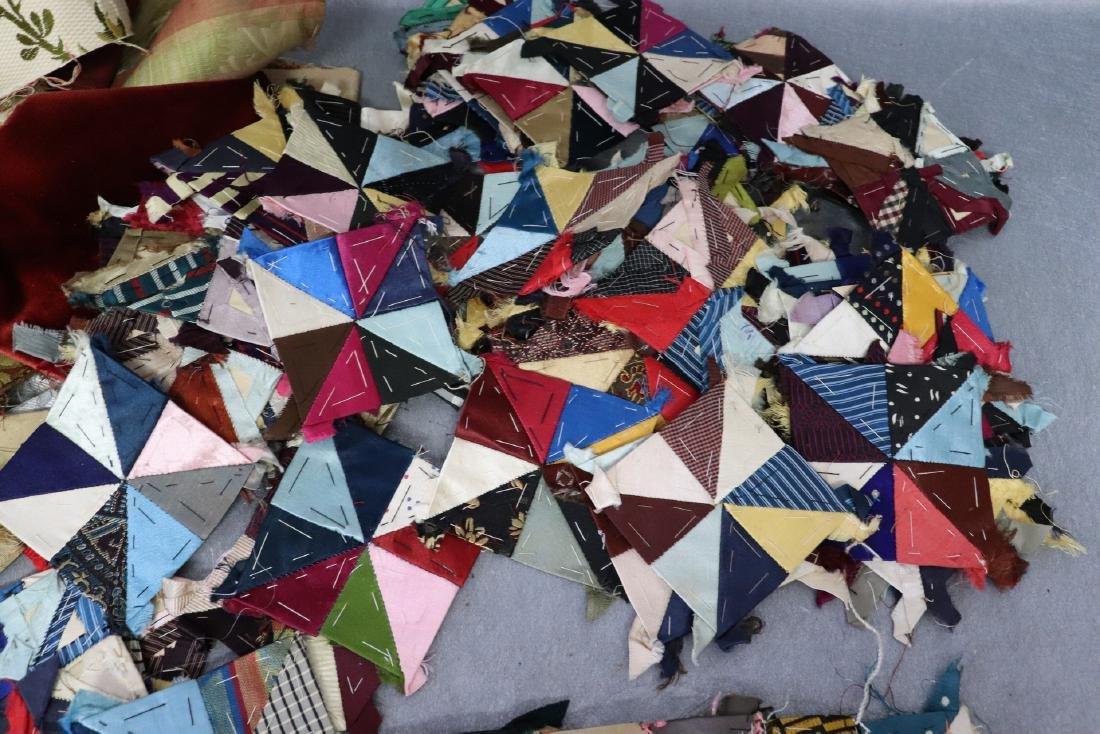 Victorian Crazy Quilt Fabrics And Quilt Top Piece - 3