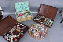 Lot Of 4 Vintage Thread Holders and Sewing Basket