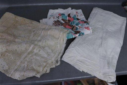 2 Vintage Tablecloths 1 Embroidered Bedspread