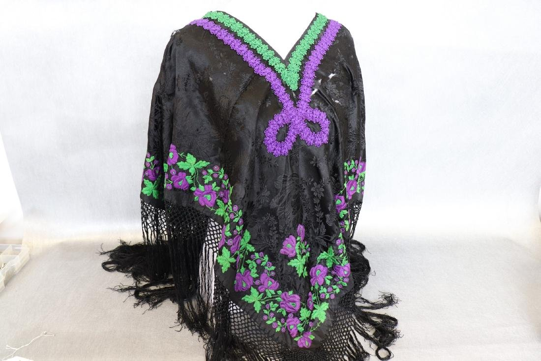 Vintage 1920's  Black Silk Piano Shawl Poncho With