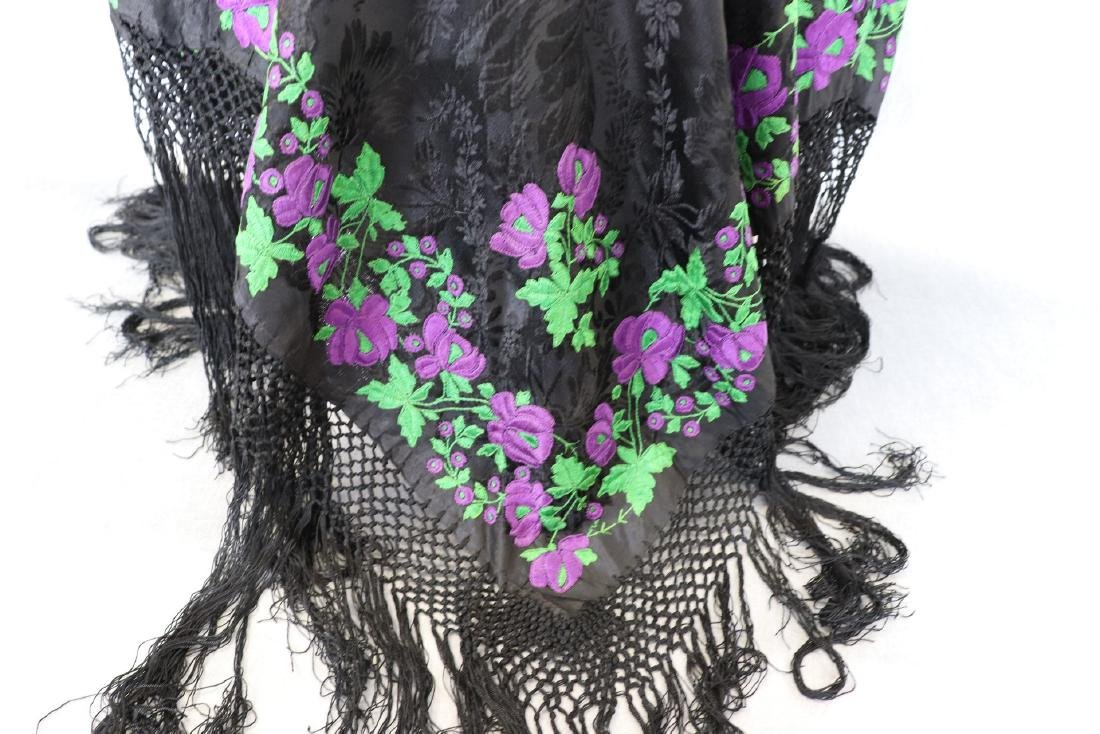 Vintage 1920's  Black Silk Piano Shawl Poncho With - 2