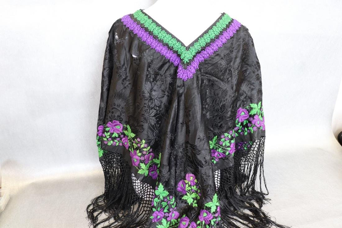 Vintage 1920's  Black Silk Piano Shawl Poncho With - 6