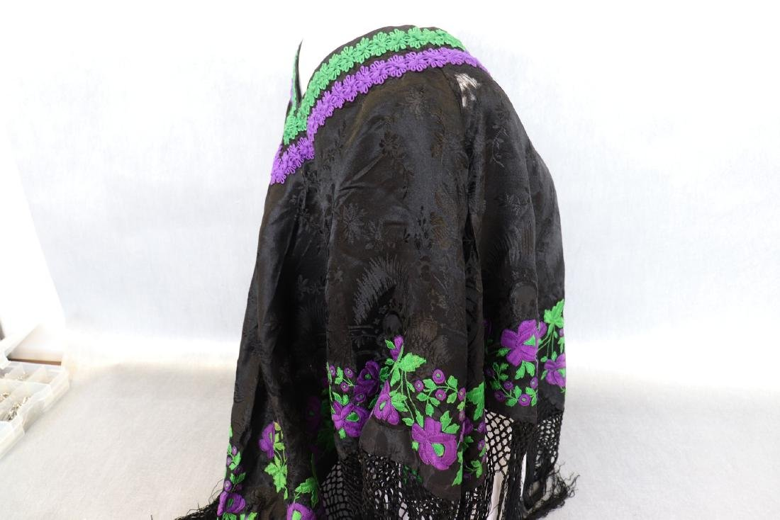 Vintage 1920's  Black Silk Piano Shawl Poncho With - 8