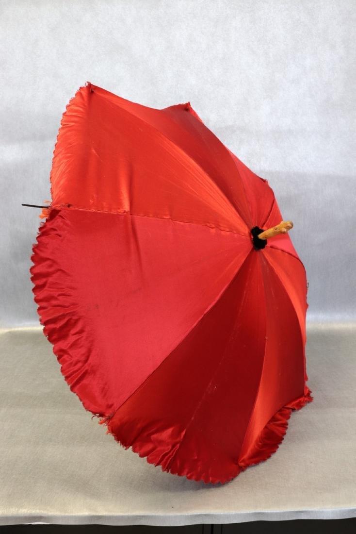 Antique Red Silk & Satin Parasol Wooden Handle