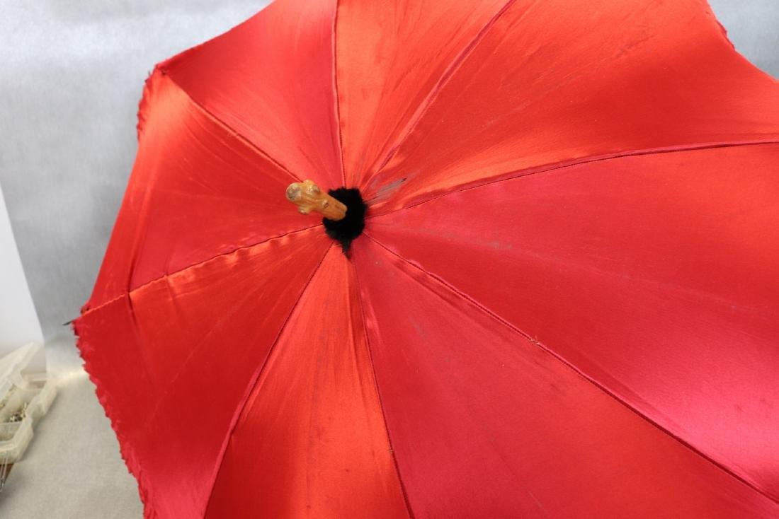 Antique Red Silk & Satin Parasol Wooden Handle - 2