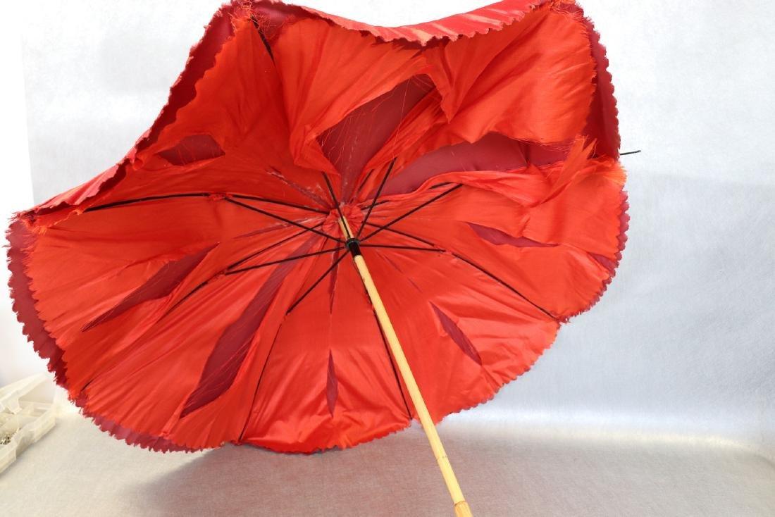 Antique Red Silk & Satin Parasol Wooden Handle - 4