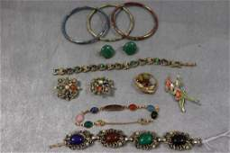Lot of Vintage Scarab & Cloisonné Jewelry, Bracelets,