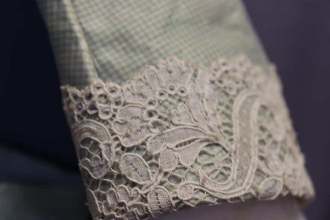 Victorian Chiffon & Green Silk Gingham Girl's Party - 3