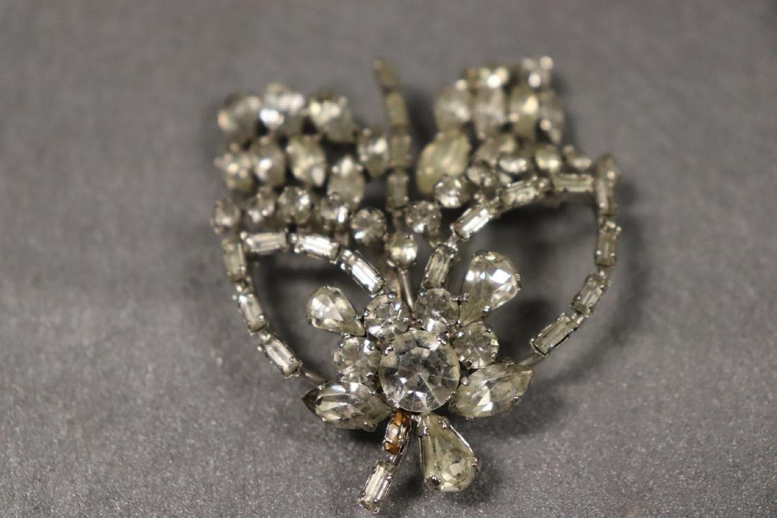 Vintage Jewelry Lot Rhinestone Pins & Necklaces - 10