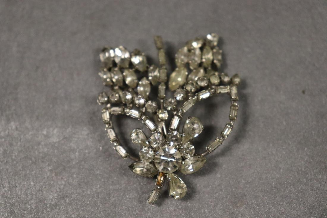 Vintage Jewelry Lot Rhinestone Pins & Necklaces - 9
