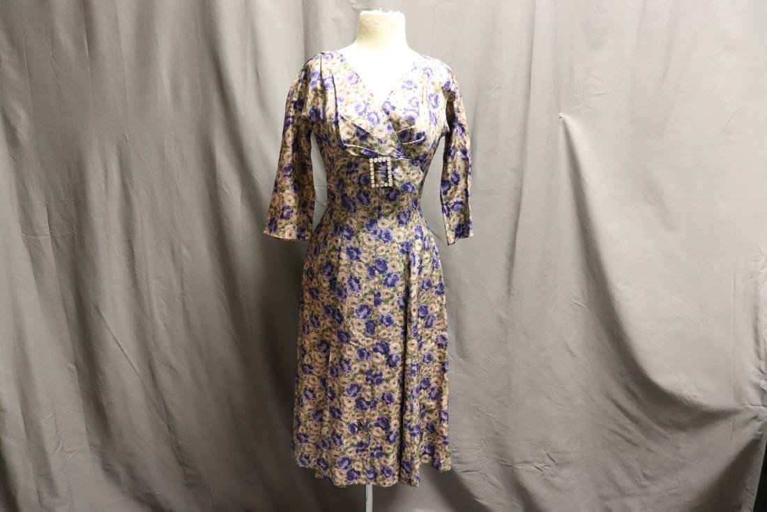 Vintage 1960's Silk Purple Rose Dress