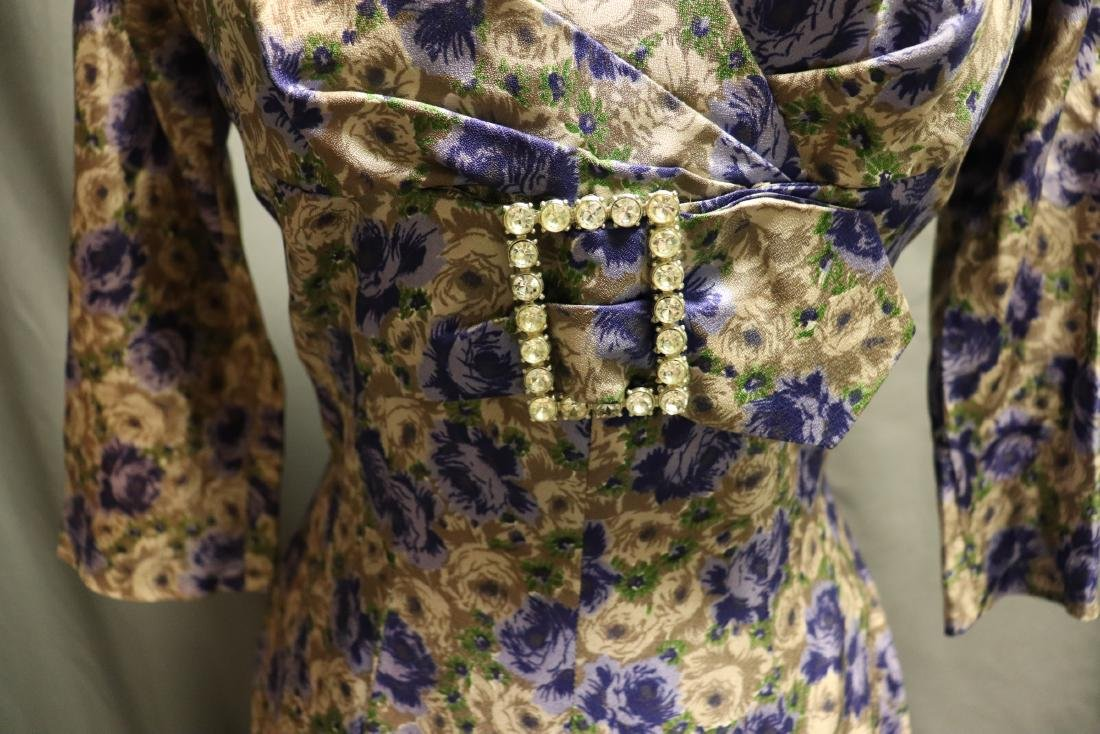 Vintage 1960's Silk Purple Rose Dress - 3