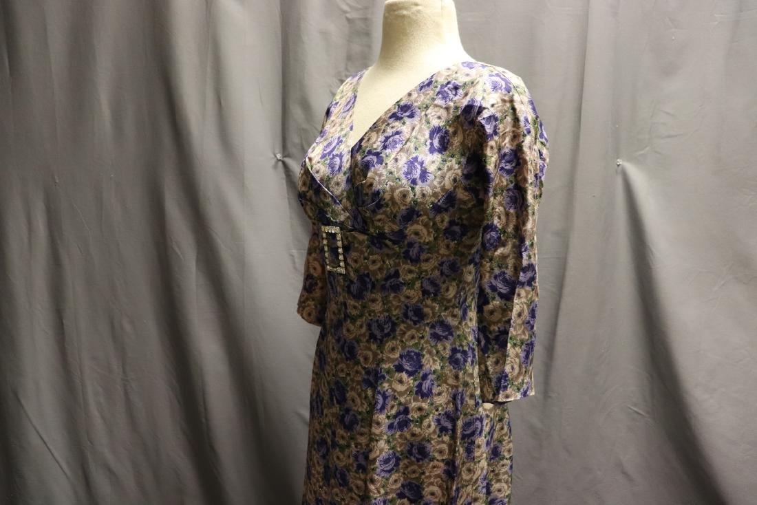 Vintage 1960's Silk Purple Rose Dress - 4