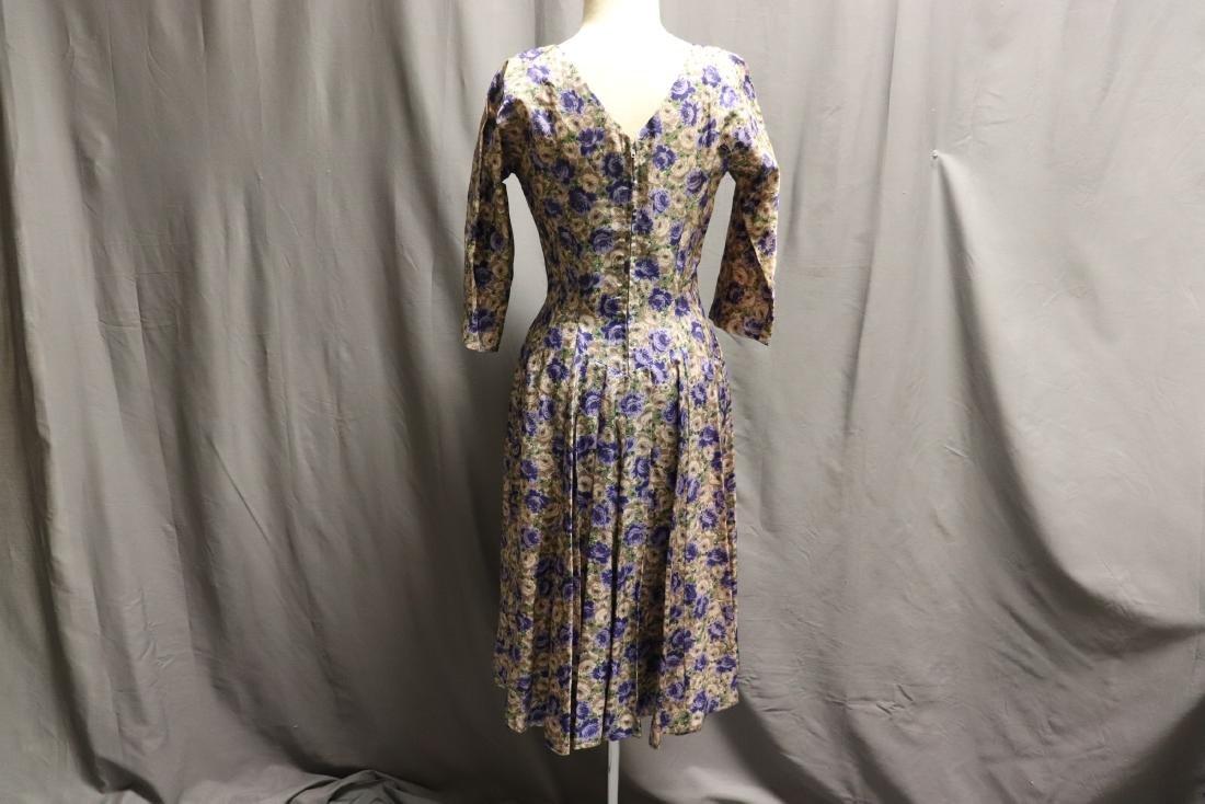 Vintage 1960's Silk Purple Rose Dress - 5