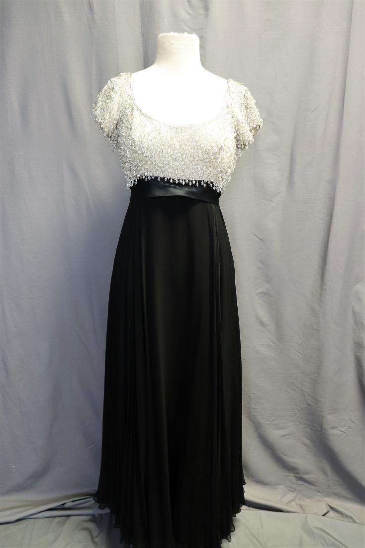 1960's Lillie Rubin Chiffon & Beaded Gown