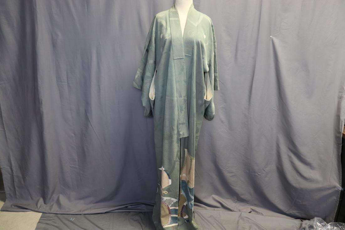 Vintage Silk Celadon Green Full Length Kimono
