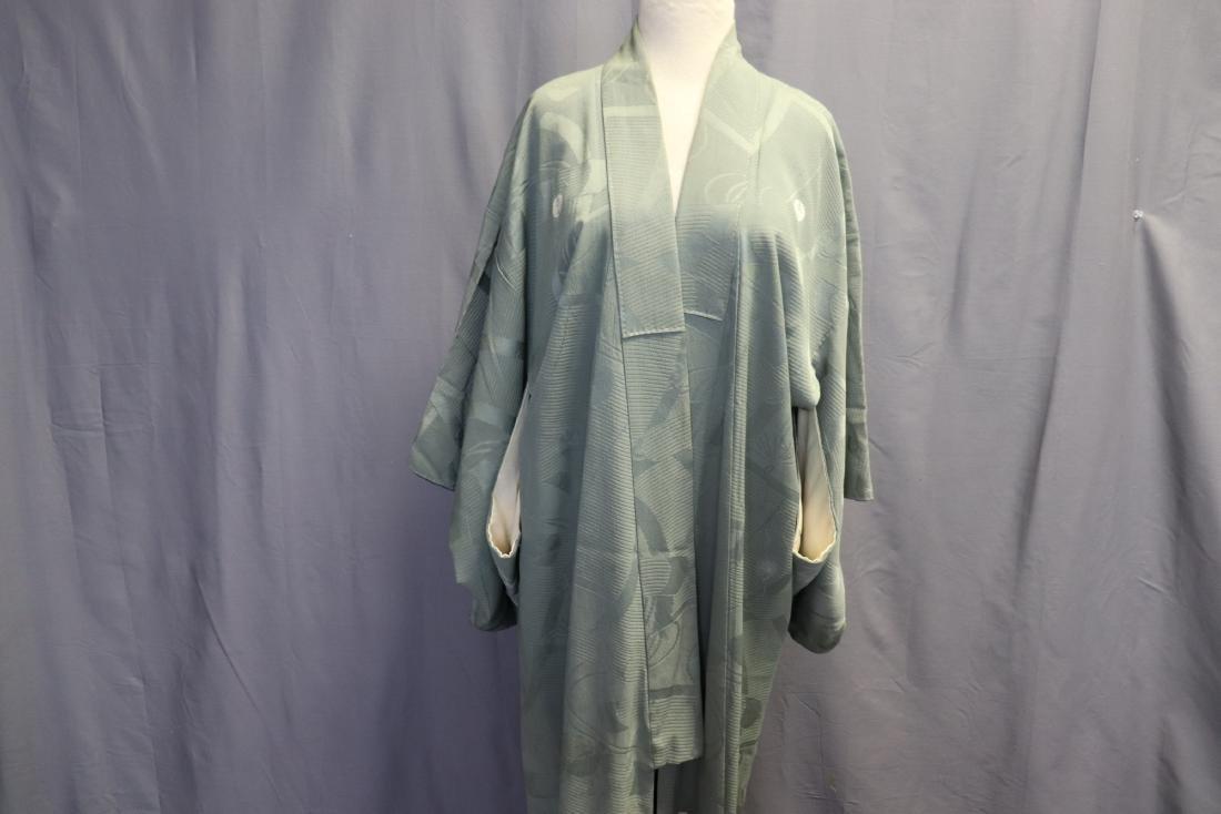 Vintage Silk Celadon Green Full Length Kimono - 2