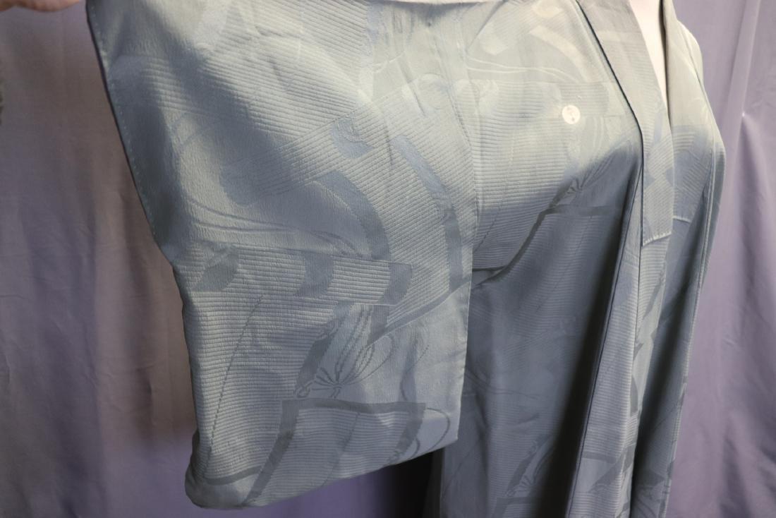 Vintage Silk Celadon Green Full Length Kimono - 3