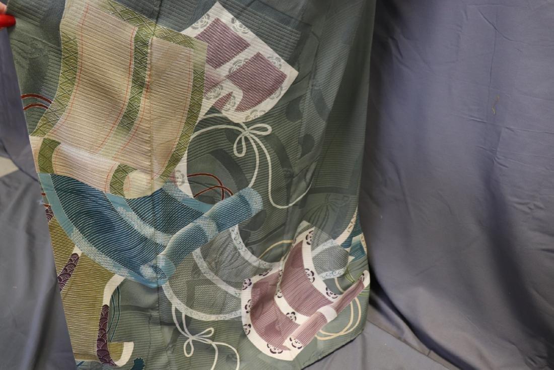 Vintage Silk Celadon Green Full Length Kimono - 4