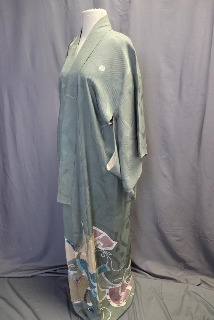 Vintage Silk Celadon Green Full Length Kimono - 5