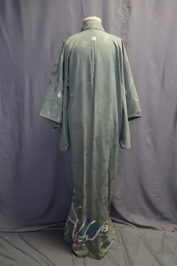 Vintage Silk Celadon Green Full Length Kimono - 6
