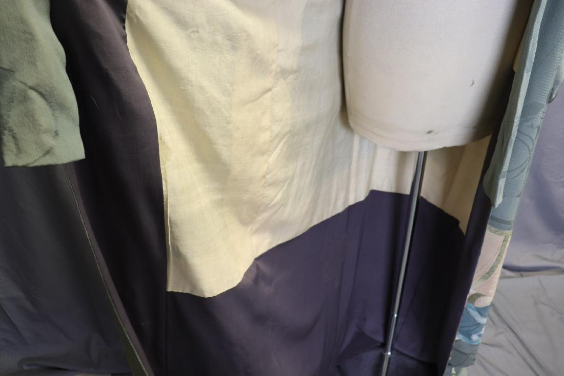 Vintage Silk Celadon Green Full Length Kimono - 9