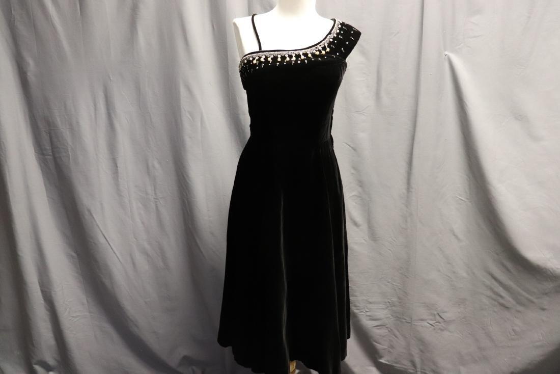1950's Black Velvet & Beaded Evening Dress