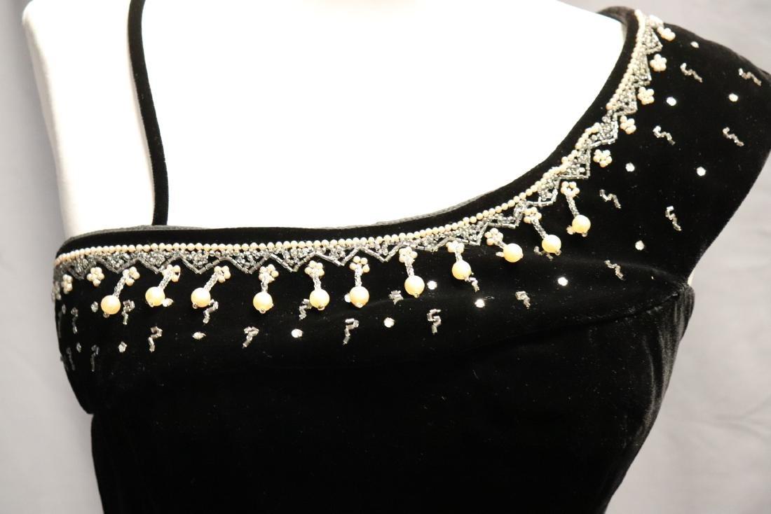 1950's Black Velvet & Beaded Evening Dress - 3