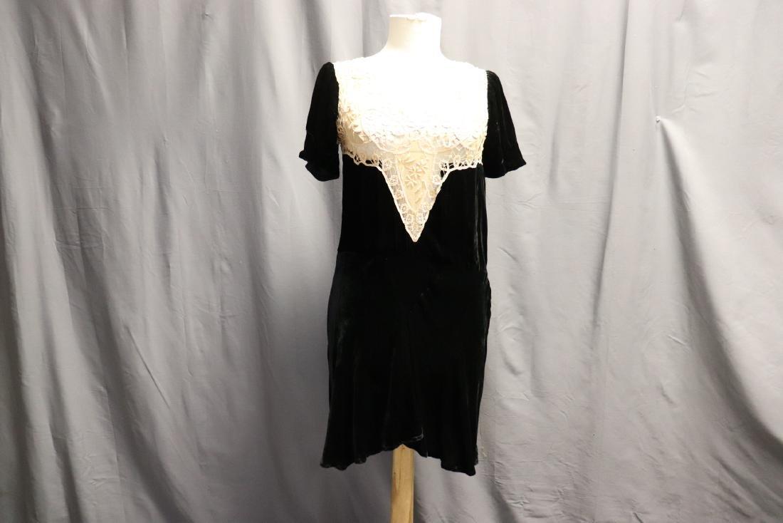1930's Velvet & Lace Dress Top