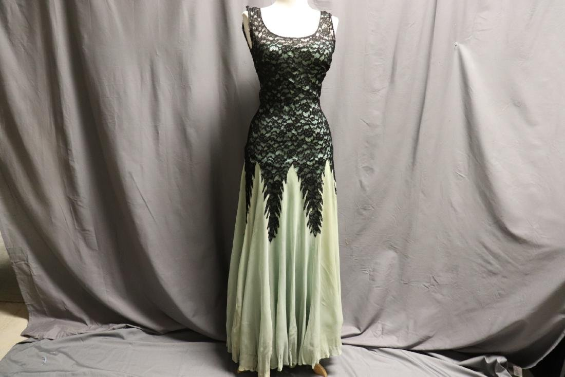 1930's Black Lace & Green Chiffon Gown