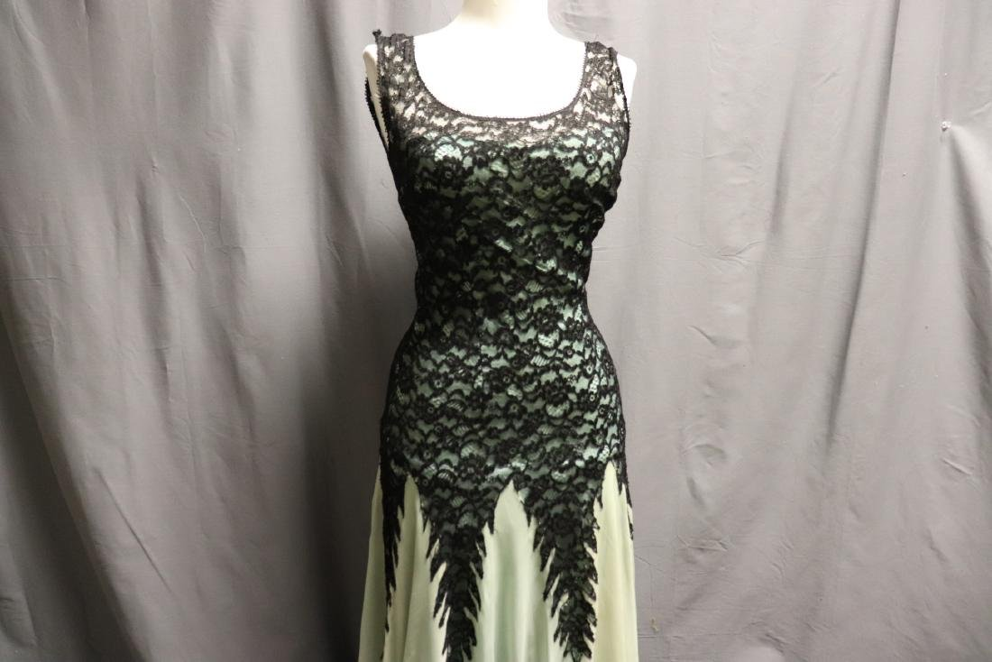 1930's Black Lace & Green Chiffon Gown - 2